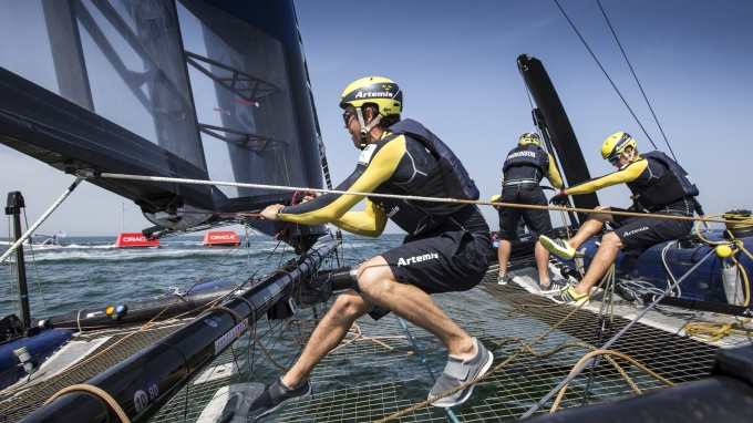 Final day of the America's Cup World Series event in Oman. Artemis Racing. 28th of February, 2016, Muscat, Oman