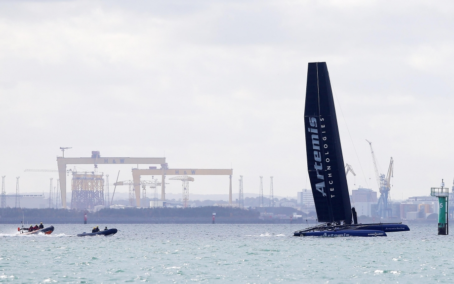 Press Eye - Belfast - Northern Ireland -  17th October 2018 -   ARTEMIS TECHNOLOGIES TAKES FLIGHT  One of the world's fastest yachts, the AC45f, was in Belfast today helmed by double Olympic gold medallist and America's Cup veteran Iain Percy. The foiling AC45f, not seen before in Ireland, is owned by Artemis Technologies who will launch a major investment project in Belfast on Thursday aimed at the decarbonisation of maritime.         Photo by Kelvin Boyes  / Press Eye